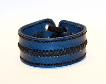 Leather cuff bracelet, blue handmade cuff, great bracelet, mens bracelet, womens bracelet, great gift, leather accessories