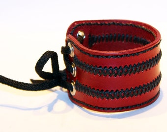 Red Leather Cuff Bracelet! Unique Leather Gift! Hight quality item! Red Bracelet! Leather Accessories!