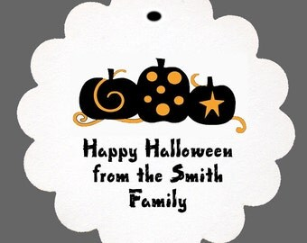 24 Personalized Colorful Pumpkins Fancy Halloween Scalloped Tags Party Favors
