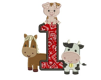 First Birthday Farm Animals Applique Digitized Design Pattern - Instant Download - 4x4 , 5x7, and 6x10 -hoops