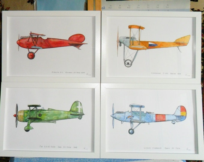 Airplane decor for nursery Prints military retro aircraft Warercolor Poster Boy's art Aviation art Baby boy nursery wall art