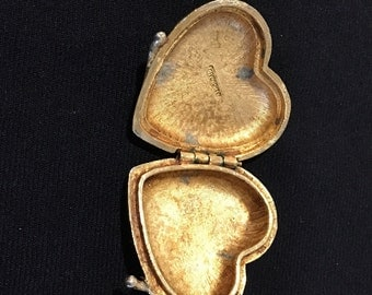 Vintage Heart shaped pocket Locket gold tone
