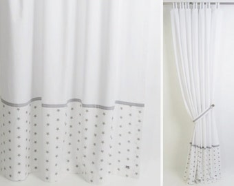 gray and white modern nursery curtain i tab top cotton panel with stars with blackout lining custom sizes available