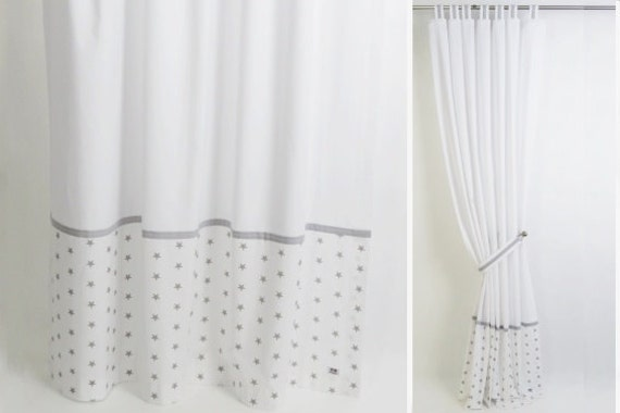 Gray And White Modern Nursery Curtain I Tab Top Cotton Panel