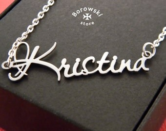 Name necklaces pendant (free shipping)- custom name pendant necklace - Kristina - personalized name pendant-stainless steel