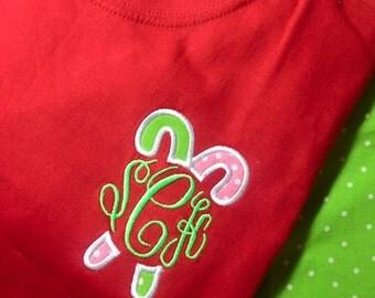 Candy Cane Applique Initial Shirt