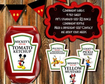 MICKEY MOUSE CLUBHOUSE Condiment Labels-Mickey Mouse Ketchup 32 oz- labels-Disney Ketchup Labels-Minnie-Mickey-Pluto-Goofy