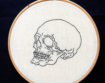 Hand Embroidery. Anatomical Human Skull. 6 inch Hoop Art. Ready to Ship. Wall Hanging. Decor. Medical. Science Gift. Anatomy.