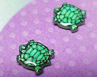 Tiny turtle stud earrings, tortise earrings, miniature turtles, shrinky dinks, resin stud earrings, green turtle, chicorydellarts, acrylic