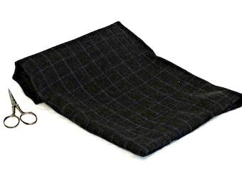 Felted Wool  Fabric - Gray Wool - Pure Wool Fabric - Purple Plaid Wool - Craft Wool - Felted Wool - Primitive Craft Wool - Wool Appliqué