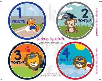 Month by Month Baby Stickers - Duke vs. Georgetown Sports Rivalry Theme