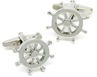 Men's Cuff Links - Ship Boat Captain Wheel