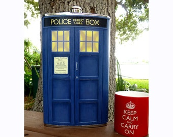 64 ounce Leather Doctor Who TARDIS Bad Wolf flask