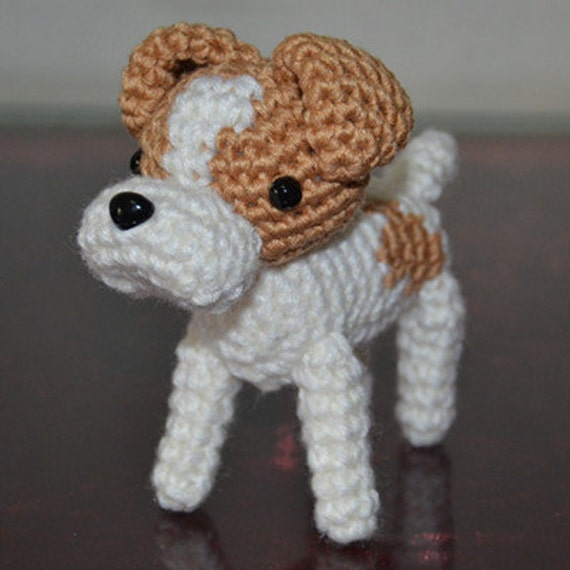 Jack Russell terrier knitted stuffed dogs Knitted dogs Hand