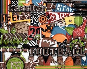 On Sale 50% Off Digital Scrapbooking Kit Touchdown Football - Digital Scrapbook
