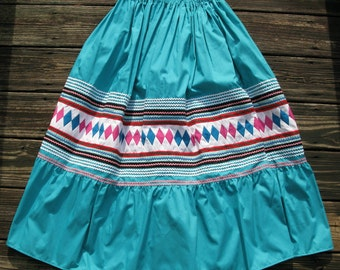 Vintage Seminole Indian skirt hand made applique and patchwork teal