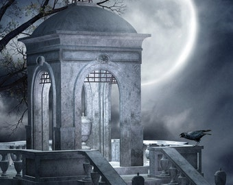 4x5 Halloween Staircase Backdrop / Photography Background / Halloween Photo Shoot Backdrop - 4x5 ft (FV9071)