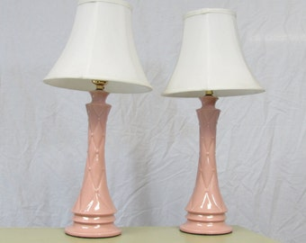 Vintage Pink Ceramic Lamps (pair)