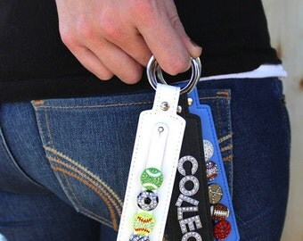 personalized genuine leather keychain, initial key chain, customized,