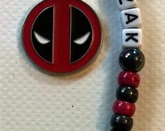 Personalised boys keyring~Deadpool keyring~back to school kids keyring~simple superhero gift