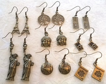 Bronze travel themed earrings~Statue of liberty~eiffel tower~passport earrings