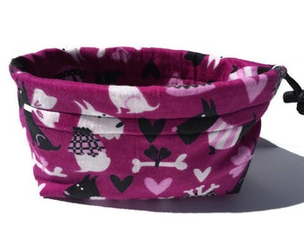 Schnauzer Pet Pouch, Dog Bag, Small Project Bag, Drawstring Pet Bag, Training Pouch, Treat Pouch, Schnauzer Fabric, Leash Bag, Treat Holder