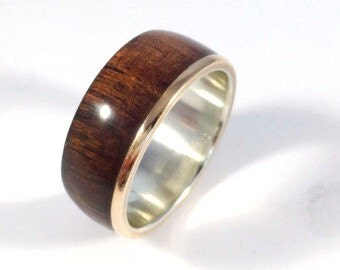 Mens wood ring, wood ring, wooden ring, asymmetric Koa with Bronze, mens wedding band, wood wedding band, mens wood wedding band