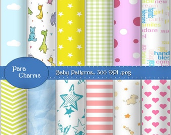 Baby Shower - DIY Digital Paper Kit 12x12 inch jpg files Commercial Use