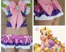 Rapunzel Inspired Outfit Rave Wear- Theme Wear- Dance - Costume - Halloween Costume - Custom - Theatre Costume