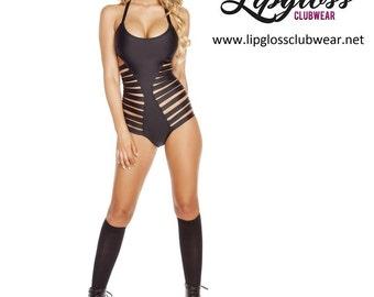 Strappy Clubwear Bodysuit - Black