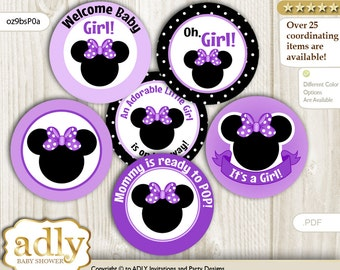 Minnie Mouse Cupcake Toppers for Baby Shower Printable DIY, favor tags, circles, It's a Minnie, Bow - oz9bsP0