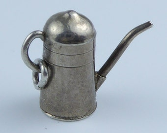 Vintage Silver bracelet charm - watering can