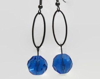 Sapphire Blue Dangle Earrings, Gunmetal Hoop Earrings, Blue Hoop Earrings, Blue Bridesmaid Earrings, Sapphire Blue Prom Earrings