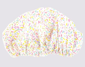 Candy Sprinkles Women's Shower Cap/ Shower Hat Waterproof outer Laminated Cotton