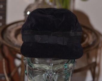 Vintage Estate Black Velour Bill Hat