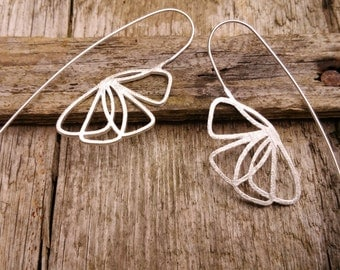 S A L E  Long Silver Flower Earrings, Silver Flower Earrings, Sterling Silver Earrings, Silver Dangle Earrings, Nature Earrings