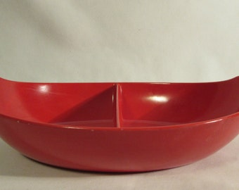 Divided Serving Dish, Bold Red Melamine, Oval