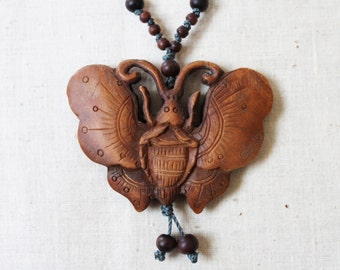 Carved Wood Butterfly & Knotted Necklace