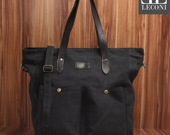LECONI XXL shopper bag bag shoulder bag lady bag shoulder bag of canvas leather black LE0040-C