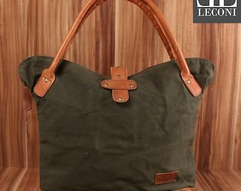 LECONI shopper handbag shoulder bag lady bag leather of canvas green LE0051-C