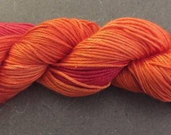 SW merino and silk DK yarn - Fireburst ombre colorway