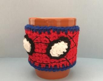 Spider-Man inspired crochet mug cozy