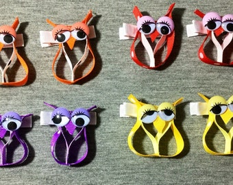 Sculpture Owl Your Choice Color Set of 2 Bows.Yellow/Red/Purple/Orange
