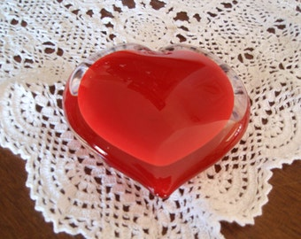 Red Hot Red Heart Solid Glass Paper Weight Collectible Glass B103