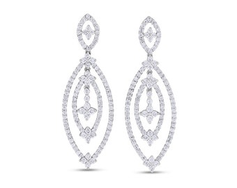1.87 CT Natural Diamond Dangle Drop Oval Earrings in Solid 18k White Gold