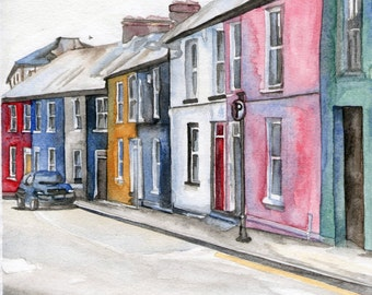 Watercolor Print Streets of Limerick Ireland 9 x 7