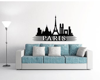 Paris Skyline wall decal, sticker, mural, vinyl wall art