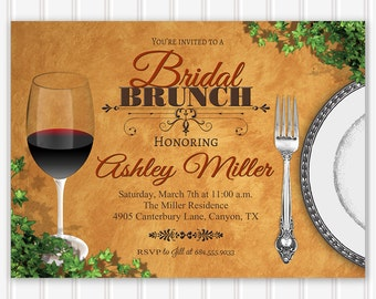 Bridal Luncheon Invitation, Bridal Brunch Invitation, Bridal Shower Invitation, Tuscan Luncheon Invitation, Bridesmaids Brunch