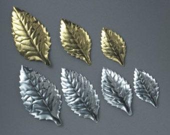 Silver Foil Cake Leaves/ Gold Foil Cake Leaves/ Small Foil Leaves/ Anniversary Cake Topper