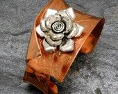 Copper & Silver Rose Cuff Bracelet, Etched Copper Silver Rose Cuff, Anticlastic Bracelet